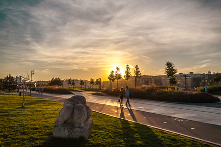 unusually: Unusually warm evening in Moscow on Krymskaya Embankment - the last day of Indian summer Stock Photo