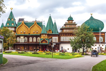 restored: Moscow, Russia - September 29, 2015: Kolomenskoe city park. Copy of the palace of the tsar Alexey Mikhaylovich Romanov. It is restored according to old drawings.