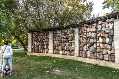 death camp: Moscow, Russia - September 25, 2015:  City artistic park Muzeon. Victims of totalitarian regime, author Chubarov. Editorial
