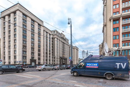 duma: Moscow, Russia - October 14, 2015: Entrance to the State Duma of Federal Assembly of Russia (parliament). Look through Manezhnaya Square.