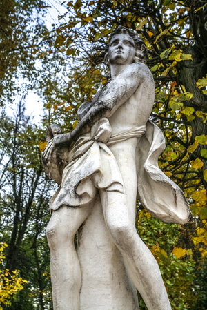 kuskovo: Moscow, Russia - October 17, 2015: Country estate of the count Pyotr Sheremetev in Kuskovo. Lodge Grotto, 1755-1761 of construction. Storage of female beauty.  Stone girl in dynamics.