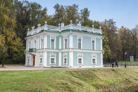 kuskovo: Moscow, Russia - October 17, 2015: Country estate of the count Pyotr Sheremetev in Kuskovo. Italian lodge, 1755 of construction.