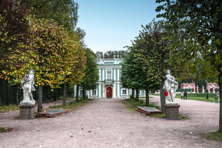 kuskovo: Moscow, Russia - October 17, 2015: Country estate of the count Pyotr Sheremetev in Kuskovo. Italian lodge, 1755 of construction. In the foreground stone sculptures of girls.