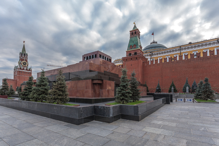 lenin: Moscow, Russia - October 14, 2015: Moscow Kremlin and Red Square. The Lenin Mausoleum on Red Square and graves.
