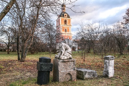 remained: Pereslavl-Zalessky, Russia - November 03, 2015: Goritsky Monastery of Dormition, it was based in XIV century. The remained ancient gravestones.