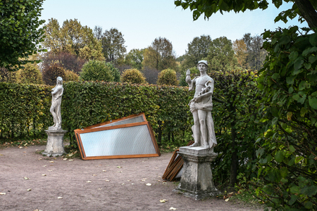 kuskovo: Moscow, Russia - October 17, 2015: Country estate of the count Pyotr Sheremetev in Kuskovo. Park sculpture of Mercury will cover from snow soon.