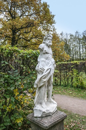 kuskovo: Moscow, Russia - October 17, 2015: Country estate of the count Pyotr Sheremetev in Kuskovo. Park sculpture of God Vulcanus.