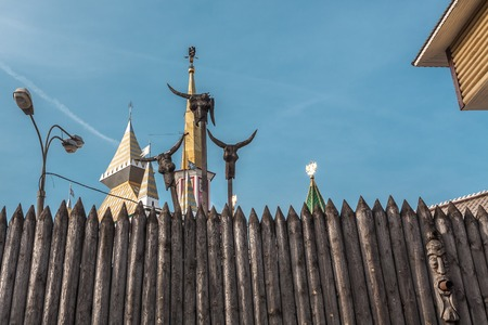 remake: Moscow, Russia - March 11, 2016: New efficient fantasy Kremlin in Izmailovo. Fence fragment in not ceremonial place where tourists dont go.