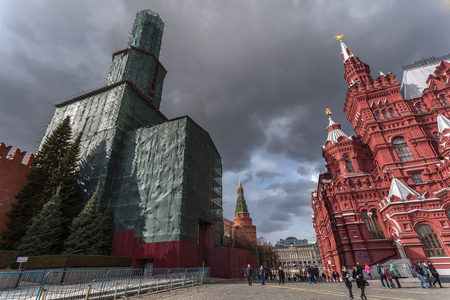 reconstruction: Moscow, Russia - March 20, 2016: Frightening type of the Nikolskaya Tower of the Moscow Kremlin during reconstruction.