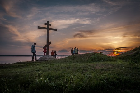 slavs: These carefree tourists dont even know, in how many million lives Christianization of Russia has managed. And the victims now under their legs. But it is already history. It is necessary to live. Stock Photo