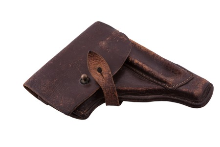 holster: The old scratched holster from the military gun of Makarov of times of the USSR Stock Photo