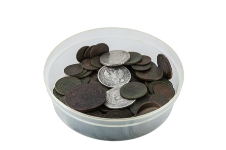 oxides: Round plastic box with old copper and silver Russian coins