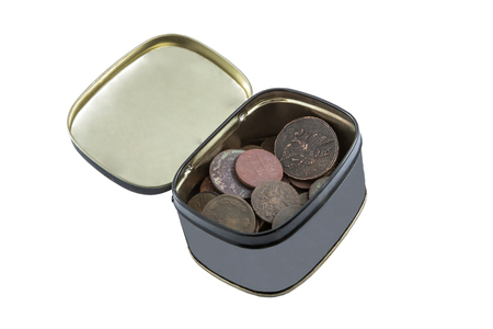gray box with old copper coins of the eighteenth and nineteenth centuries in oxides Stock Photo