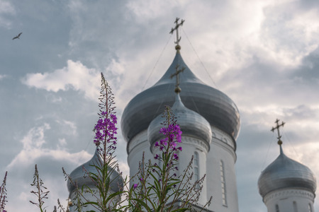 Wild flowers against domes, Christian crosses, the sky and the flying bird. Stock Photo