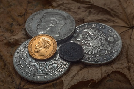 kopek: Three silver coins, one gold and one copper. An object lesson of oxidation of different metals for at one time.