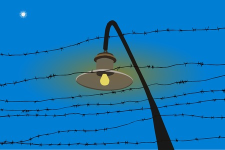 barbed wire and star