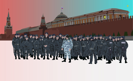 Moscow police on guards Illustration