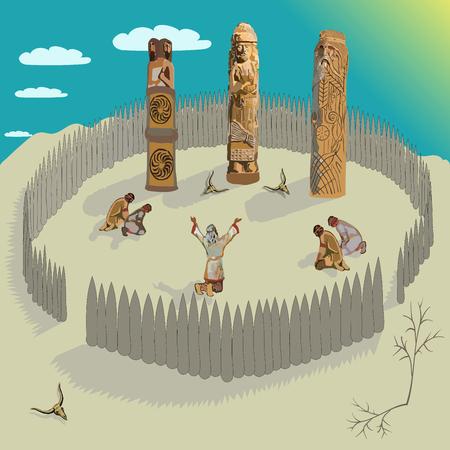 Ancient Slavs during worship Illustration