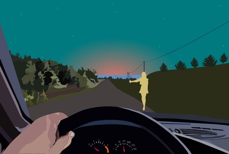 The girl on the night road asks to give a ride to her to the sea of the unfamiliar lonely driver