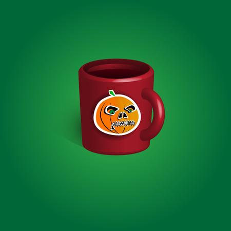 Cup halloween celebration souvenir with sticker. Vector illustration.