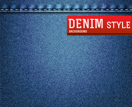 Denim, blue jeans texture with label. Vector illustration. Vector