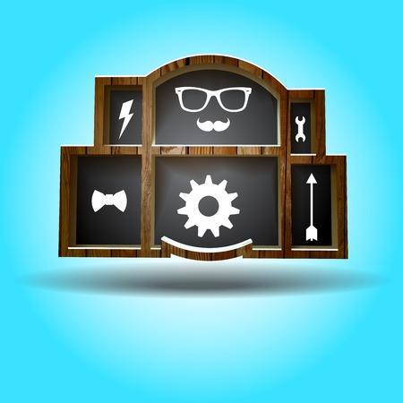 �tag�re bois: �tag�re en bois avec des objets du jeu de hippie. Vector illustration