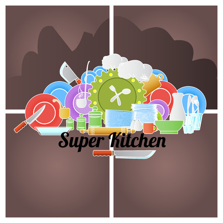 utensil: Cooking colored doodle with utensil. Vector illustration.