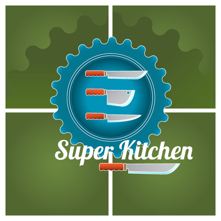 utensil: Cooking colored doodle logo with utensil. Vector illustration.