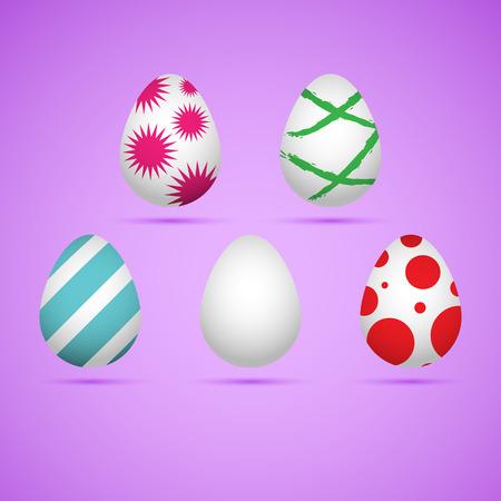 honeysuckle: Five colored happy easter eggs. Vector illustration. Illustration