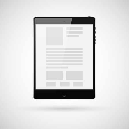 Black tablet computer for template. Vector illustration. Vector