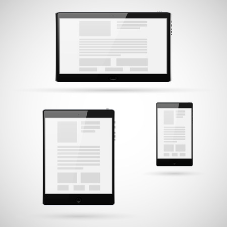 palmtop: Set of tablet computers template. Vector illustration.