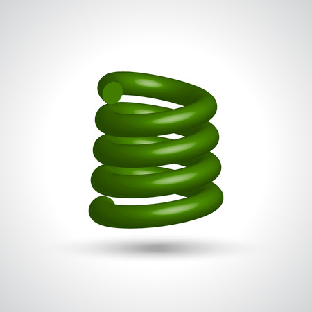 Green isolated spiral on white background. Vector illustration. Vector