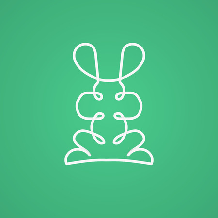 the animated cartoon: Modern logo in linear design with rabbit. Vector illustration.