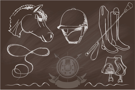 equestrian sport: Vector set of icons and symbols for sports games polo. Silhouettes of horses and equipment player - stock vector. Illustration