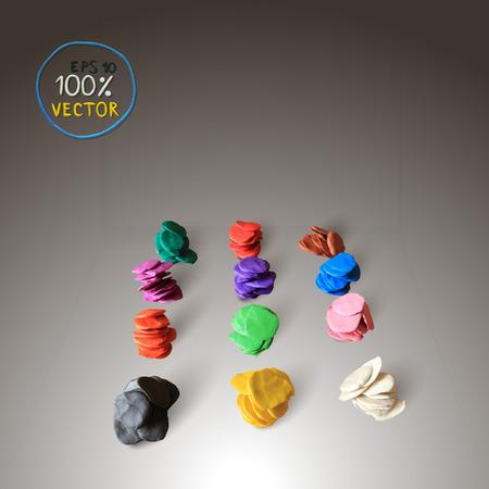 modeling: Plasticine modeling colorful plasticine background. Vector illustration.