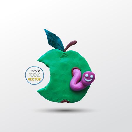 gusano caricatura: Gusano plastilina divertido en la manzana verde. Ilustración del vector. Modelado de plastilina.