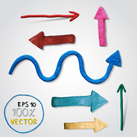 Plasticine modeling. Vector illustration. Icon of plasticine arrow on white background. Design for your website.