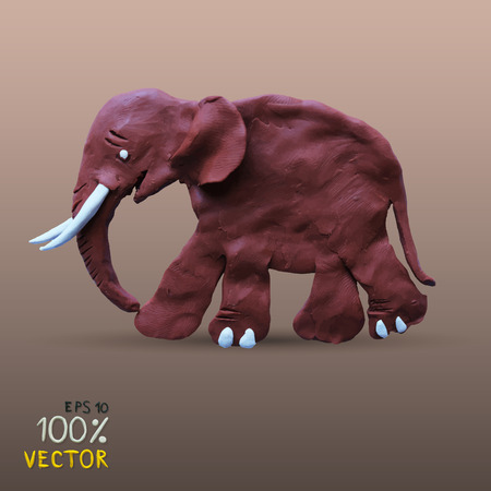 clay modeling: Vector illustration plasticine textured elephant. Clay modeling. Illustration