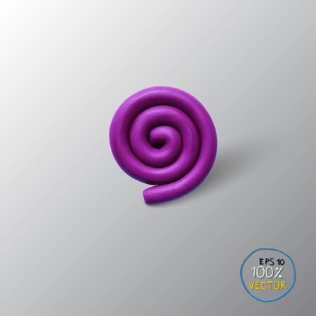 Vector illustration spiral background object. Plasticine modeling. Illustration