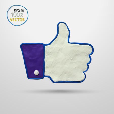 plasticine: Plasticine modeling. Thumb up applique. Vector illustration