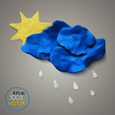 Plasticine sun, cloud, rain on gray background. Modern design. Vector illustration