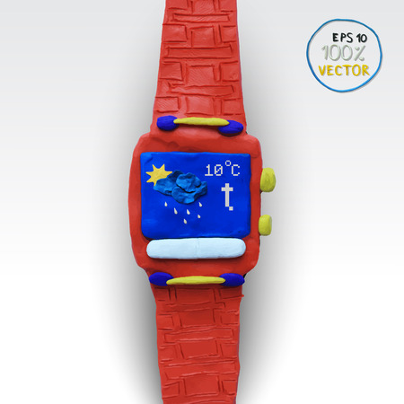 modelling: Smart watch with some application icons on an white background. Vector illustration. Plasticine modeling. Illustration