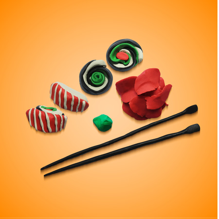 modelling: Illustration of various pieces of Sushi with chopsticks. Vector illustration. Plasticine modeling.