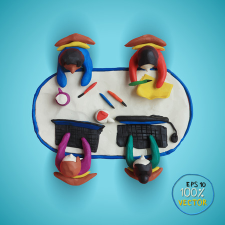Plasticine modeling. Office workers business management meeting and brainstorming on the table in top view. Vector illustration. Vector