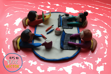 main group: Plasticine modeling. Office workers business management meeting and brainstorming on the table in top view. Vector illustration.