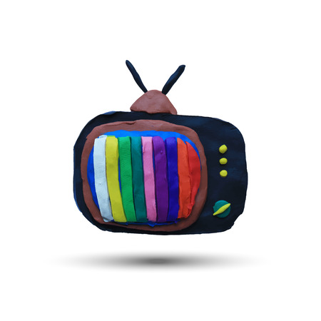 Retro tv set with color lines. Vector illustration. Plasticine modeling. Vector