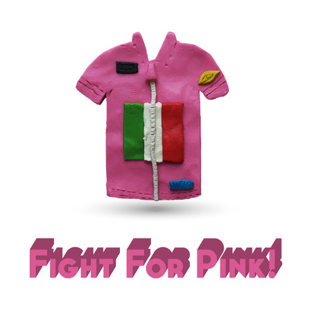 uno: Pink Cycling Jersey. Vector illustration. Plasticine modeling