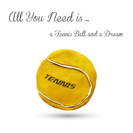 wimbledon: Realistic illustration of yellow tennis ball, isolated on white. Vector illustration. Plasticine modeling. Illustration