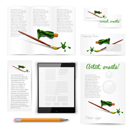 modelling: Classic white stationery template of brochure, booklet, flyer with brush and paint tube. Documentation for business. Vector illustration. Illustration
