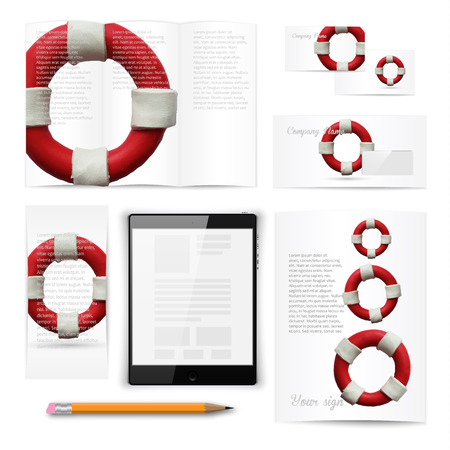 documentation: Classic stationery template of brochure, booklet, flyer with lifebuoy. Documentation for business. Vector illustration.